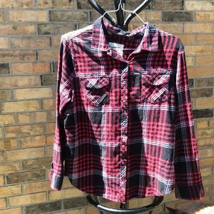Beautiful plaid with bling sequence XL BLOUSE
